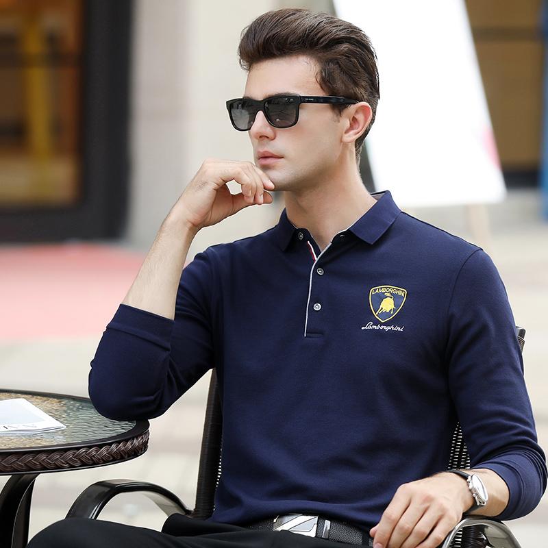 秋季中年男长袖T恤潮宽松薄款刺绣纯棉翻领polo衫男上衣纯色打底