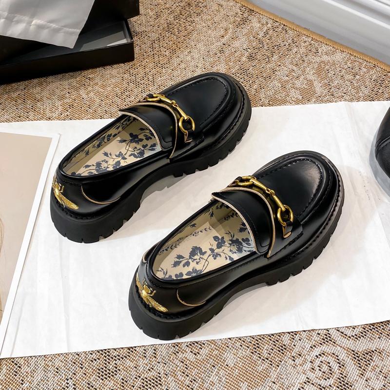 致青春阿希哥同款鞋松糕厚底马衔扣小蜜蜂乐福鞋女真皮英伦小皮鞋