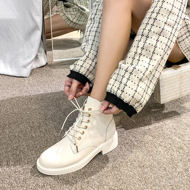 马丁靴女2020新款百搭夏季透气圆头系带白色短靴女春秋单靴马丁鞋