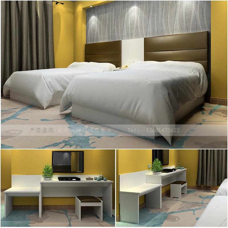 Standard room of express hotel furniture complete set standard room of hotel 1m 2 bed simple modern combination TV cabinet