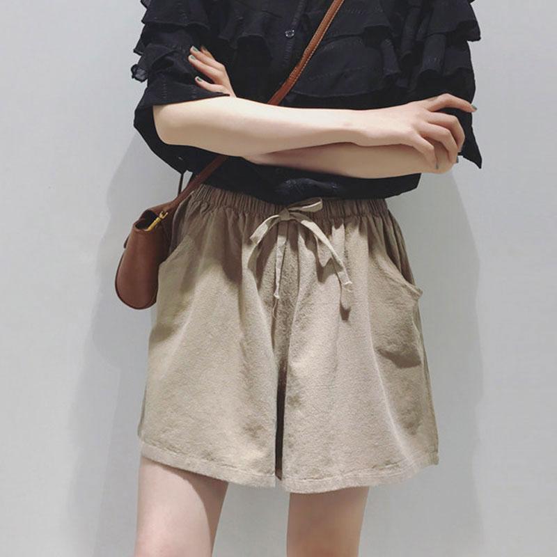 2018新款棉麻短裤女春夏季学生宽松紧高腰阔腿裤五分大码休闲热裤