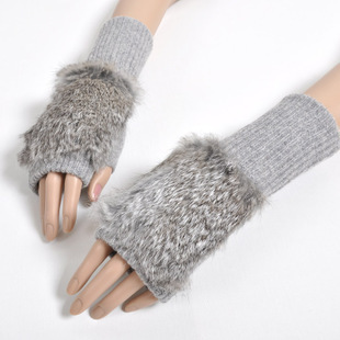 Special price package mail fashionable autumn and winter womens real rabbit fur wool half finger open finger warm gloves