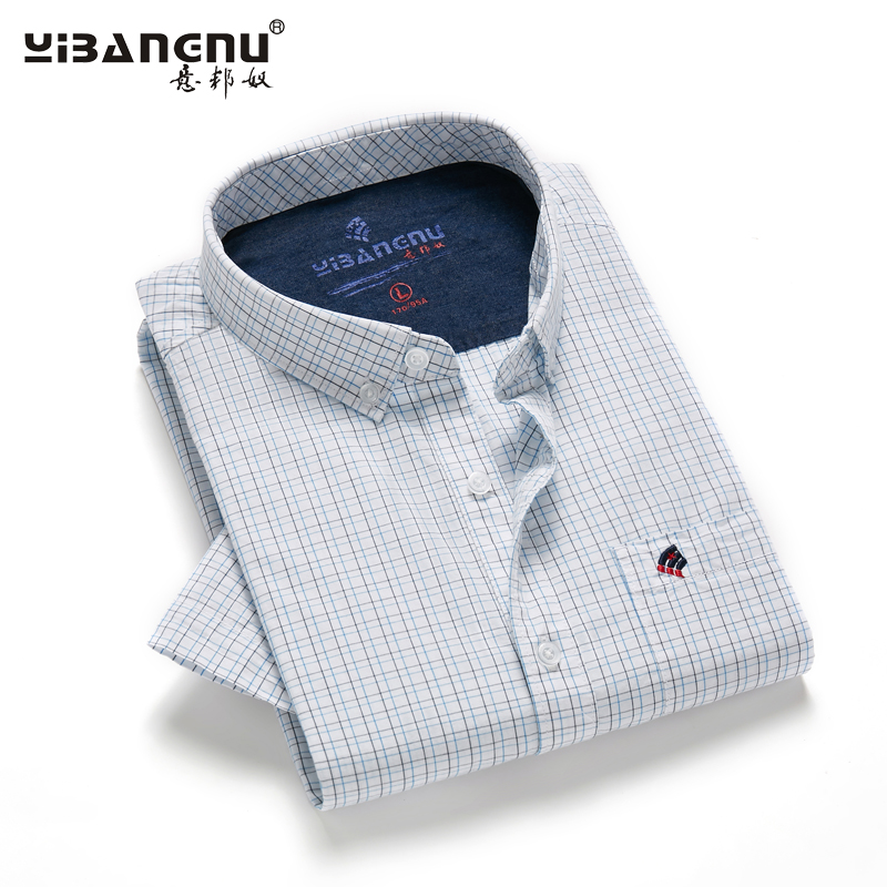 Italian Bono mens short sleeve summer shirt Half Sleeve Plaid Cotton breathable young and middle-aged fashion hundred tower shirt