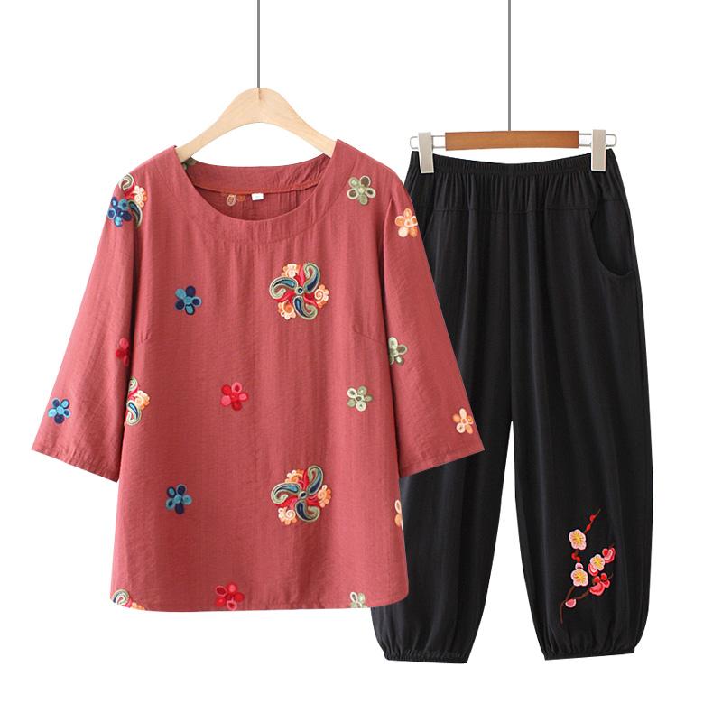 夏季新款中老年大码女装民族风刺绣七分袖T恤衫套装妈妈洋气上衣