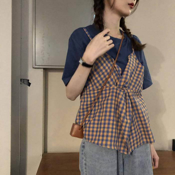 花花家 官圖 65/35棉短袖格子拼接吊帶假兩件綁帶設計感上衣T恤女