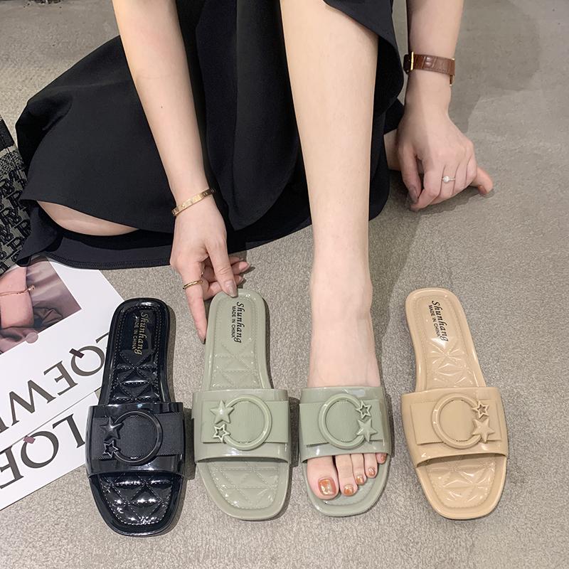 网红韩版时尚百搭可湿水懒人女士外穿凉拖鞋