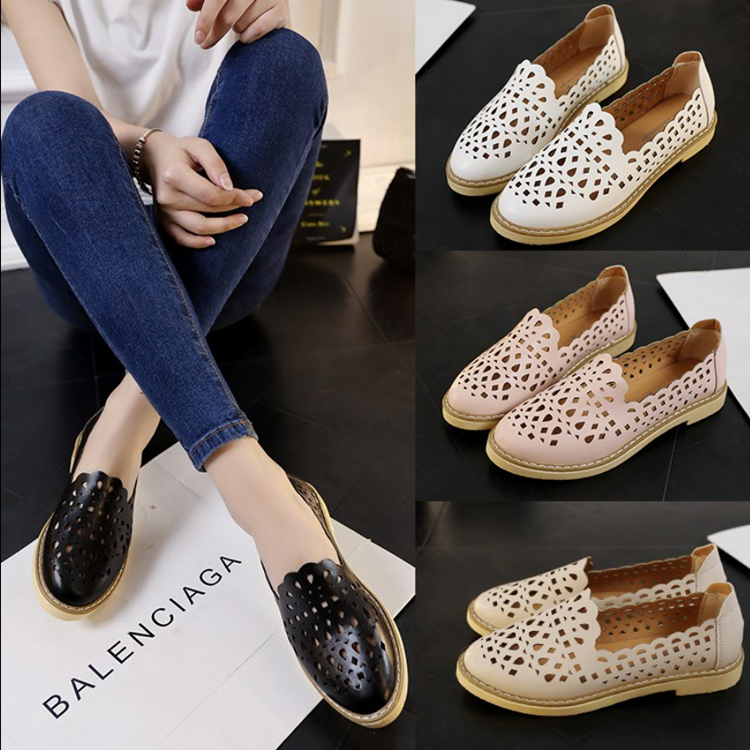 Весна/лето 2016 новый раунд вырезать Англии сладкий плоские туфли женские винтажные Корейский комфорт плоские Женская обувь