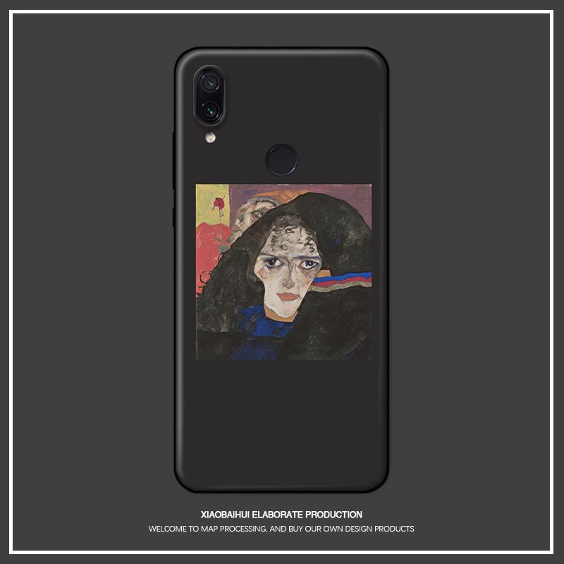 适用红米note7pro/8/4x标配/高配5a/7手机壳席勒复古油画欧美潮图片