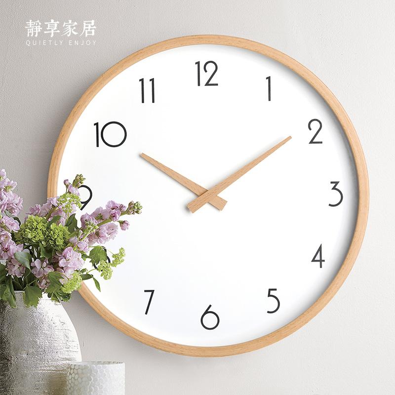 Нордический настенные часы гостиная дерево простой современный бук часы вешать стол спальня домой кварц часы японский немой