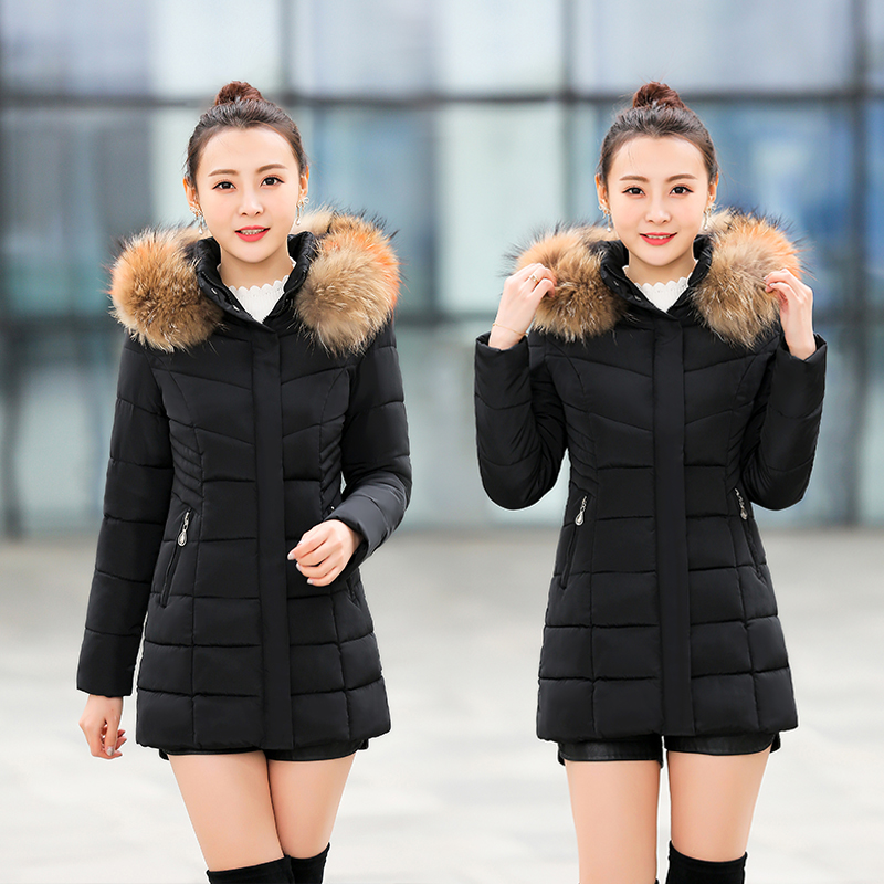 Cotton padded clothes womens Korean version slim waist cotton padded clothes 2020 new products thickened warm cotton padded jacket medium length fashionable coat