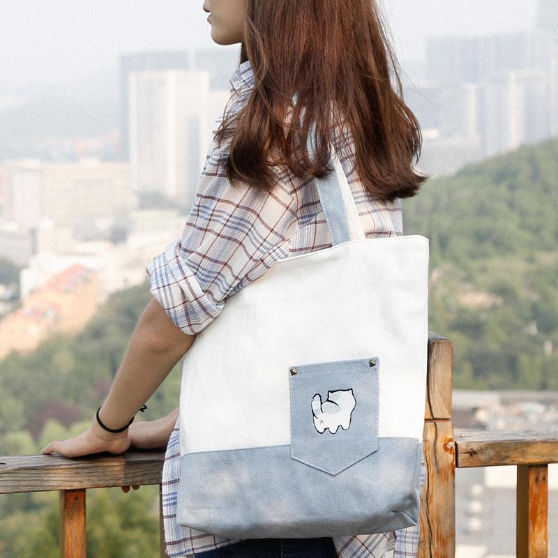 木子锦囊帆布包女单肩ins韩版文艺手提帆布袋简约拼色森系学生包