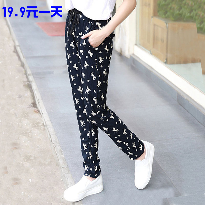 Pure cotton silk pants womens pants summer printed large size artificial cotton beach yarn pants cotton small foot Harlan casual pants