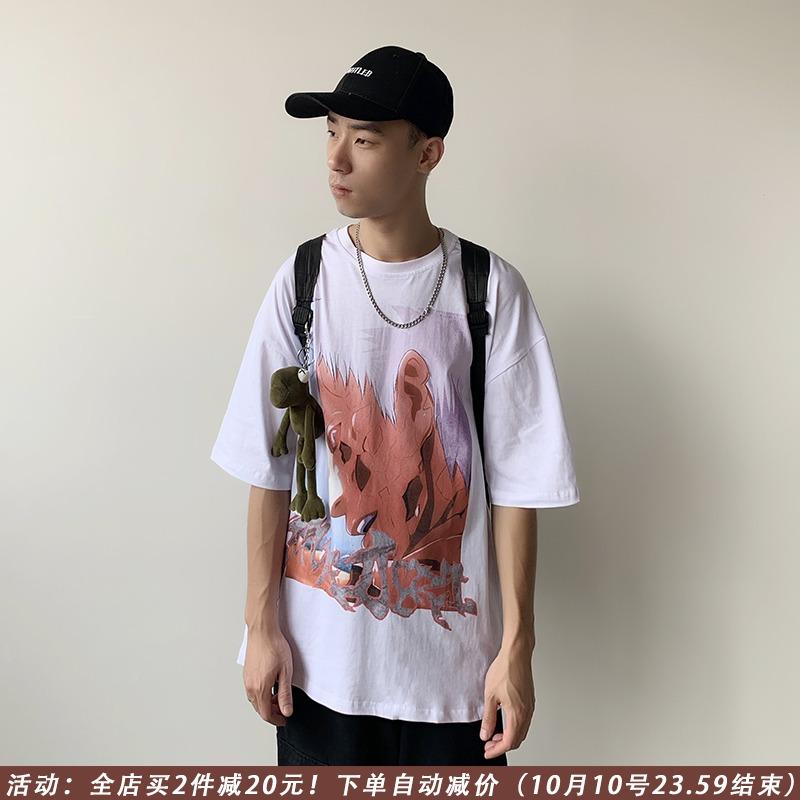 限10000张券男生短袖潮牌个性日系港风动漫t恤