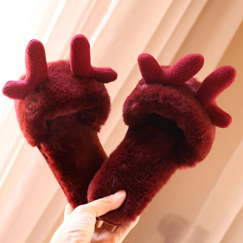 韩版萌物圣诞森系麋鹿角耳朵毛绒一字拖秋冬季女居家保暖外穿拖鞋图片