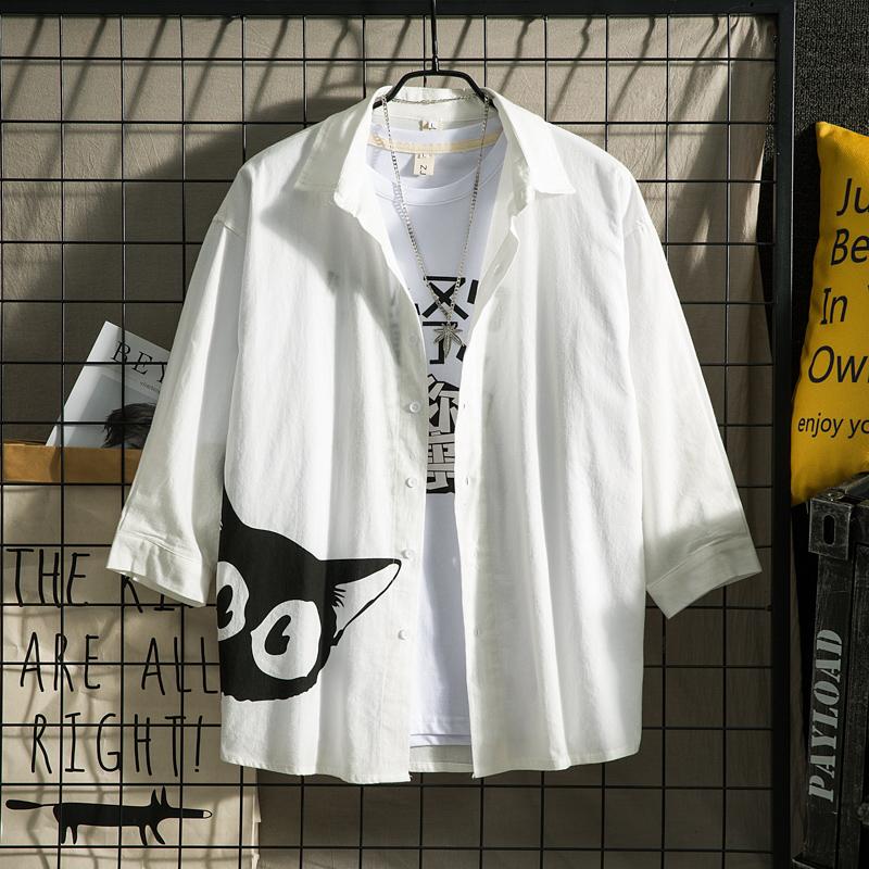 日系中性休闲情侣大码中国风防晒衣男短/七袖衬衫黑白网格7852P45