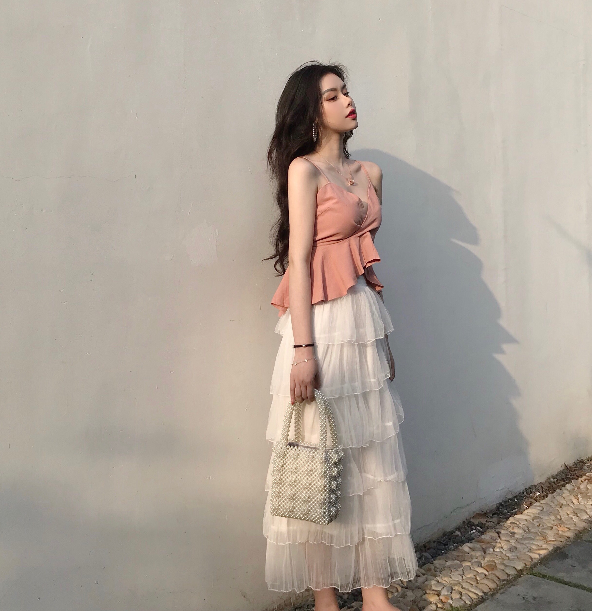 2018新款吊带蛋糕裙长裙套装女夏网红ins超火裙子两件套连衣裙仙