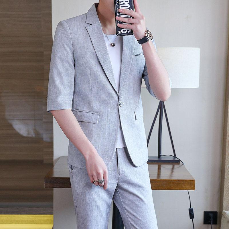 西服套装男中袖男生英伦半袖小西装外套潮流七分袖224-9933-P130