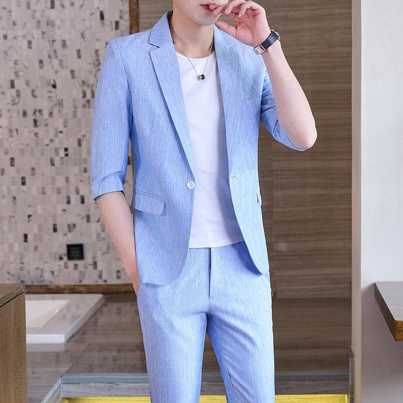 西服套装中袖男士英伦半袖小西装外套潮流七分袖224-9930-p125
