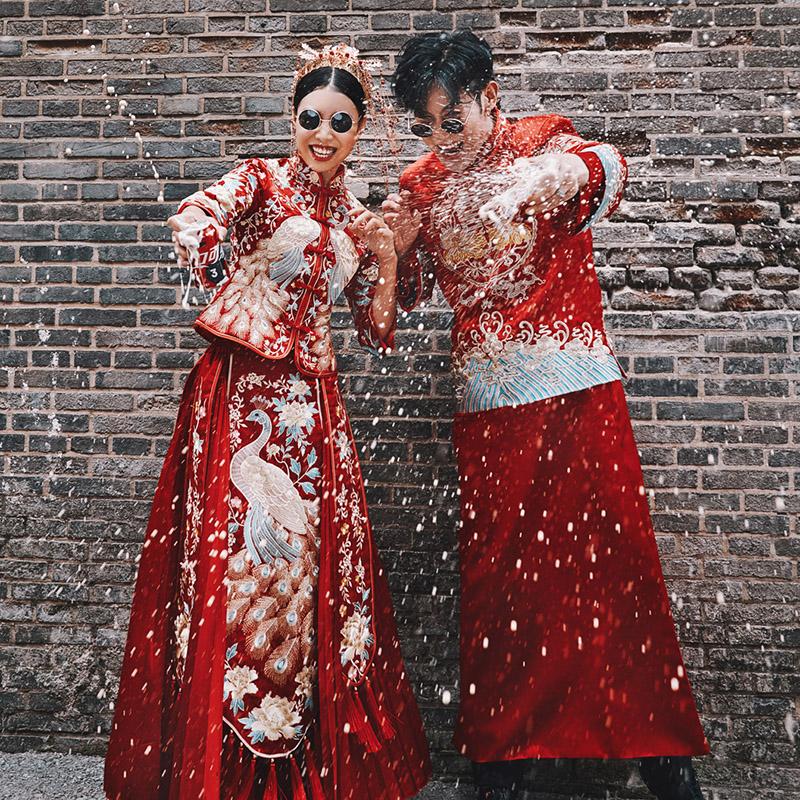新郎敬酒服结婚秀禾服情侣套装2019新款男士龙凤褂中式礼服秀和服