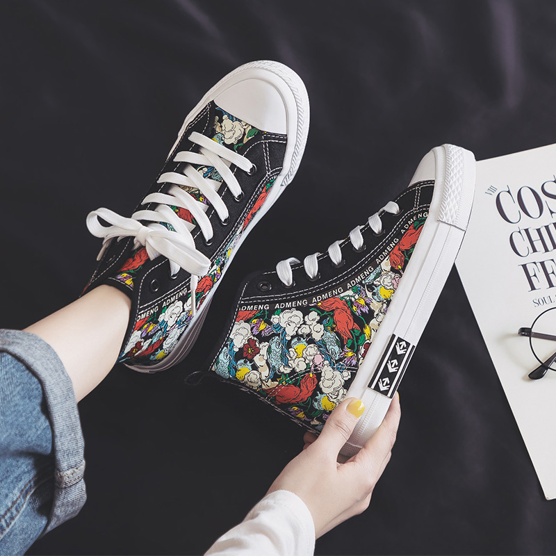 Huili high top canvas shoes womens elegant style