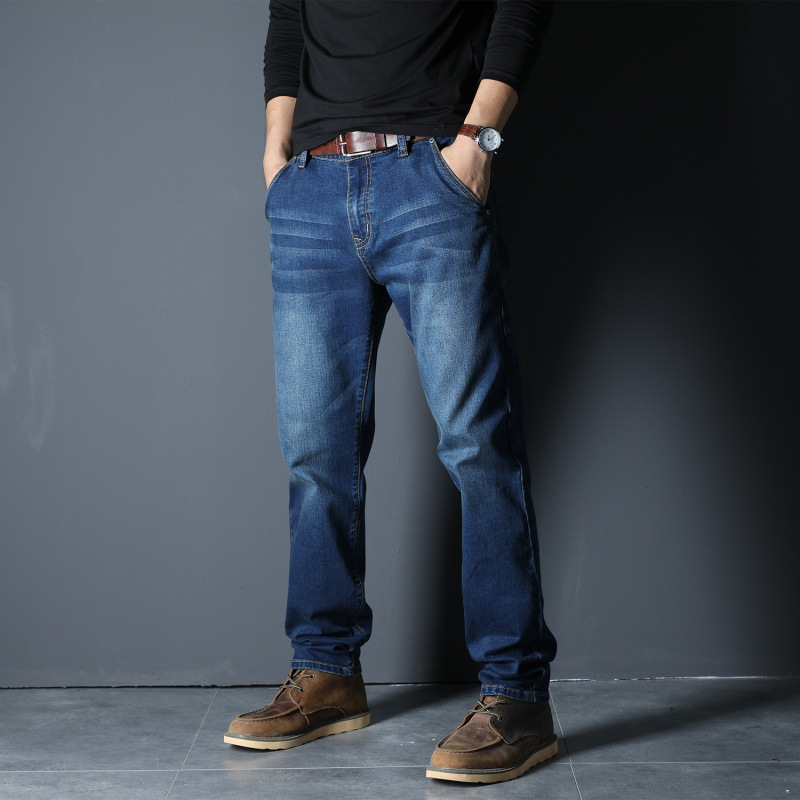Young mens summer new business denim pants loose high elastic plus large size straight tube fashion city dress