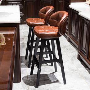高脚凳家用椅子吧凳实木吧台椅轻奢酒吧桌椅现代简约高凳子吧椅