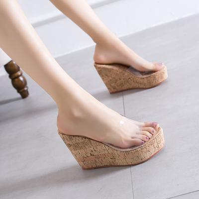 10CM防水台松糕女鞋厚底透明鱼嘴凉鞋坡跟超高跟鞋豹纹时尚拖鞋女