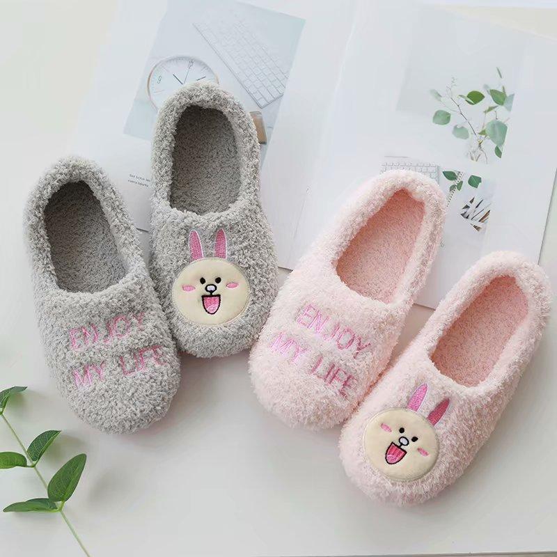 春秋季毛茸茸可爱兔子冬加绒棉拖鞋