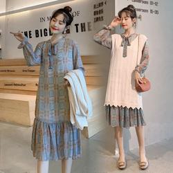 连衣裙两件套女2020初秋韩版宽松针织毛衣马甲配雪纺裙子套装显瘦