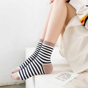 5双全棉秋季韩国日系学院风中筒袜