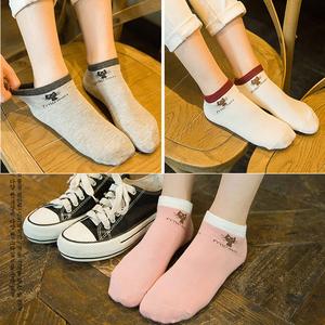 5双船袜女袜子全棉可爱学生单鞋薄款浅口运动防滑夏季防臭吸汗