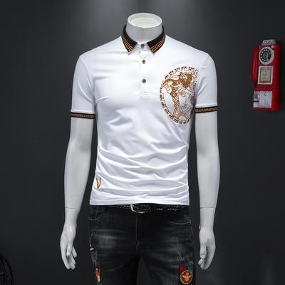 2021夏季新款polo衫男丝光棉亮片刺绣短袖白色假模D238-20115-P85