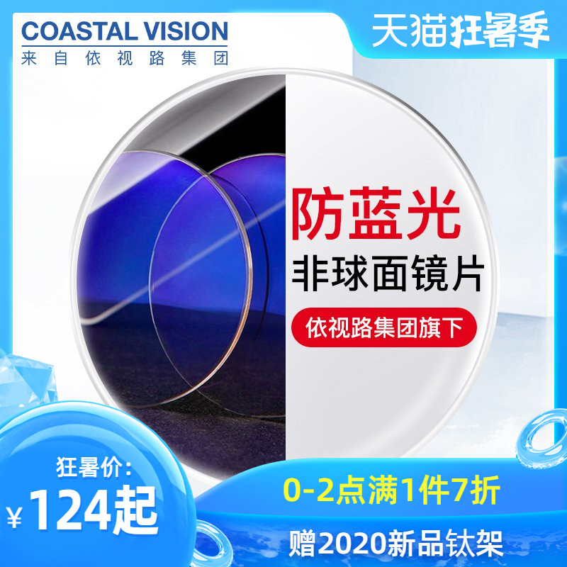 Mirror feast anti blue light glasses aspheric protection green film lenses myopia optical glasses 2 sets of high-definition lenses