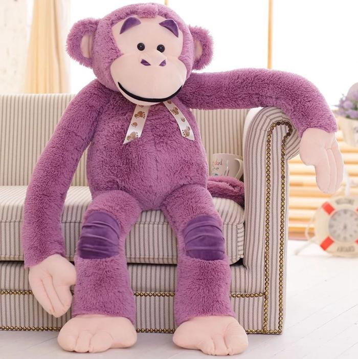 爆款�L臂猴子公仔大嘴猴毛�q玩具猩猩抱枕大�布娃娃男女生日�Y物