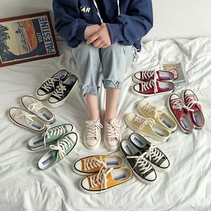 1970s半拖鞋女学生帆布鞋一脚蹬无后跟懒人鞋透气平底板鞋男鞋子