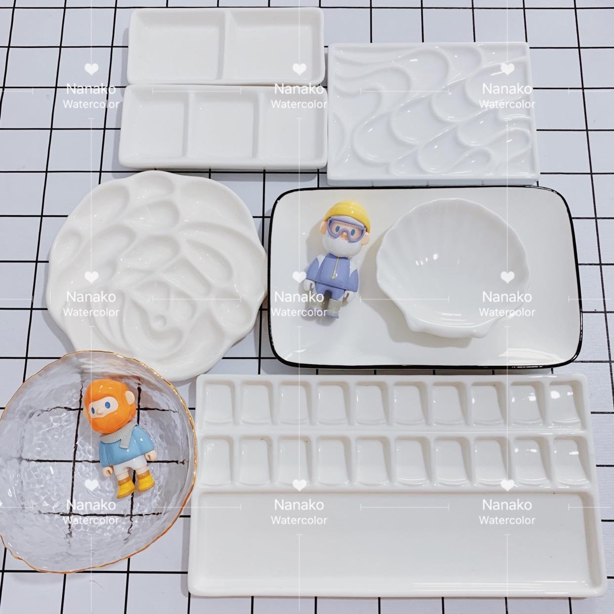 陶瓷调色盘水彩油画国画绘画颜料白瓷质长方形三格碟玫瑰花调色盘