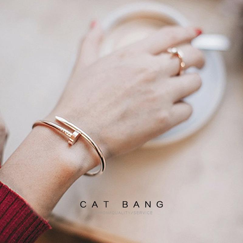 Catbang fashion titanium steel Li Jiaqi Xiao Zhan same nail Bracelet mens and womens open Bracelet couple Bracelet