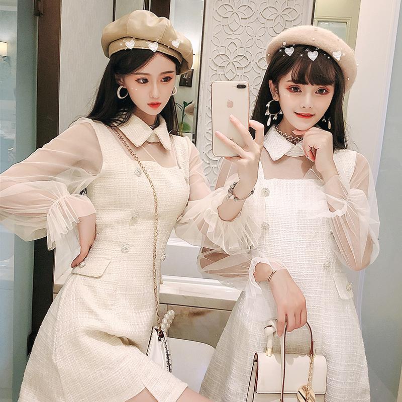 10月16日最新优惠2019年秋装新款名媛雪纺小香仙女裙