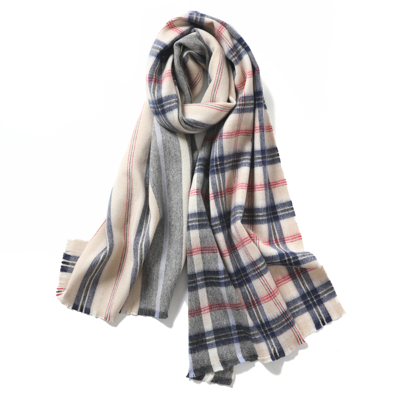The special price is only more than ten tassel free womens winter Wool Plaid Scarf stripe color matching shawl for warm men
