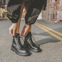 薄款单靴英伦风平底马丁靴女秋季粗跟短靴黑色百搭系带帅气机车靴