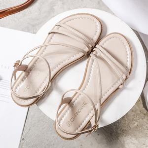 细带罗马凉鞋女夏平底一字带低跟平跟女凉鞋软底后空一字扣罗马鞋