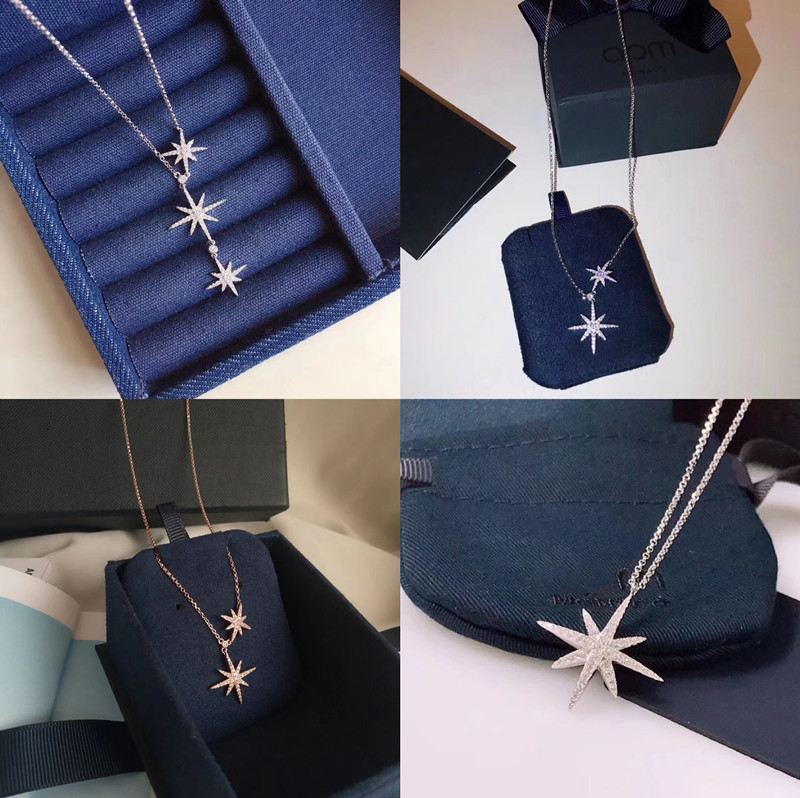 925 Sterling Silver six pointed star tassel three meter Necklace full of Diamond Star Double pendant stretch adjustable sweater clavicle chain