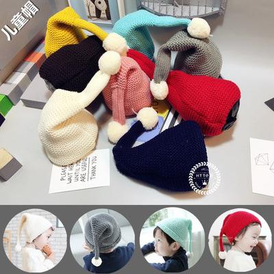 Санта вязать шляпу шерсть шляпа длинный хвост хет эльф люльке ребенка Шапка зимняя теплую шапку
