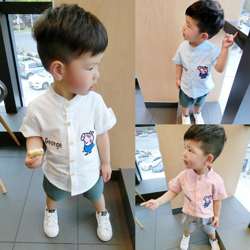 男童短袖白衬衫夏季小童男宝宝白衬衣1-3岁小孩潮儿童装夏装上衣
