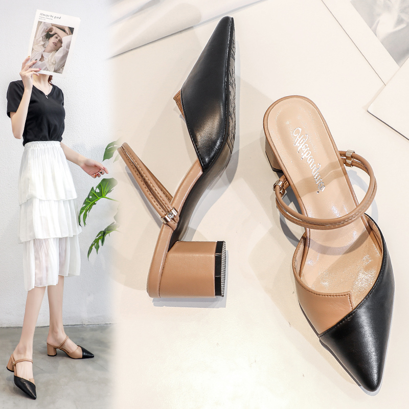 Baotou sandals womens new summer thick heel Korean wear pointed two wear medium heel half trawl red sandals woman