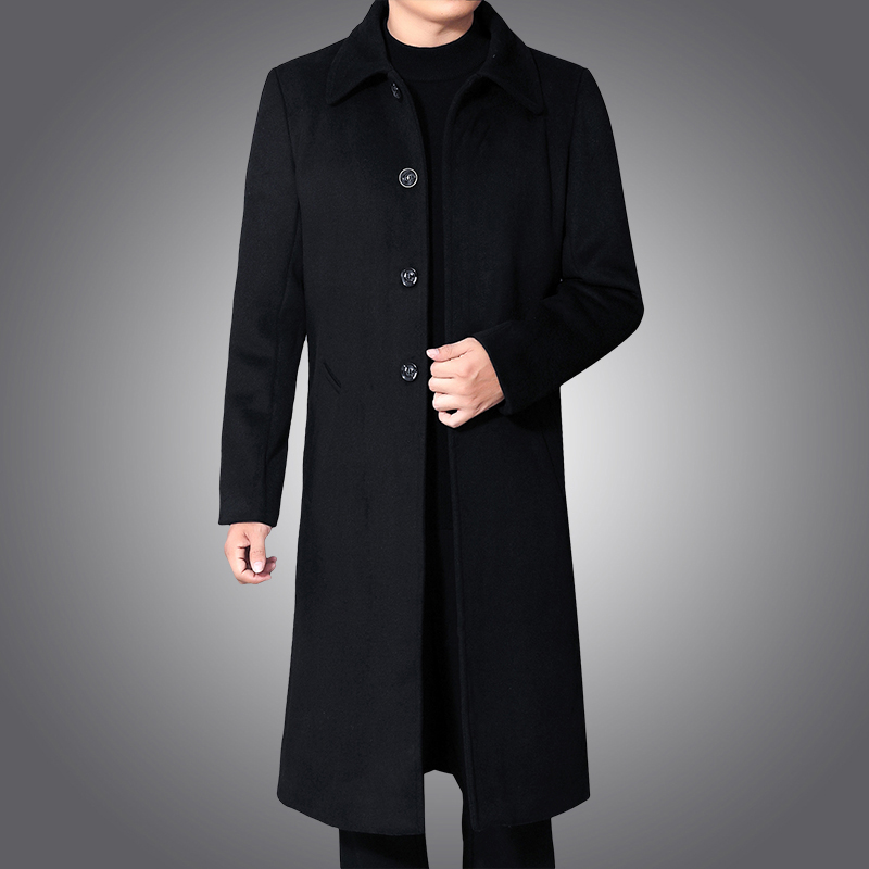 Mens slim windbreaker medium length fathers casual wool coat