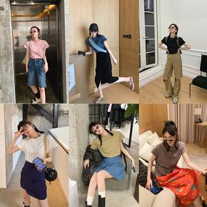 MONA 短袖女2020年夏季新款宽松显瘦纯色圆领竹节棉复古百搭T恤