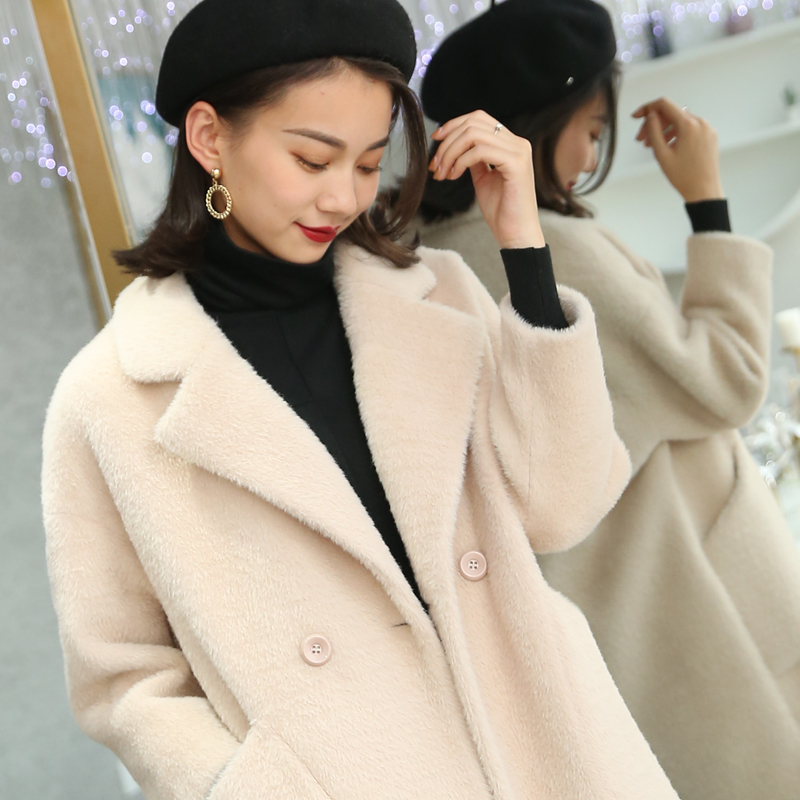 2021 new autumn and winter double-sided woolen coat womens middle and long coat popular small woolen coat