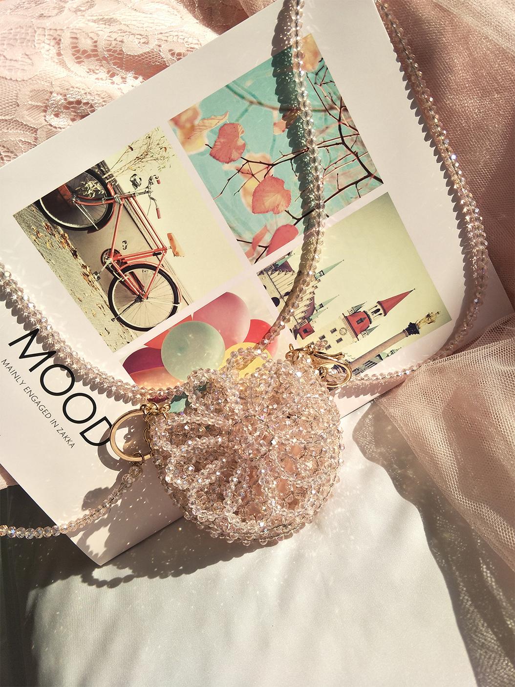 粉红花朵水晶串珠包包 女链条斜挎包 小众原创零钱包 仙女迷你包