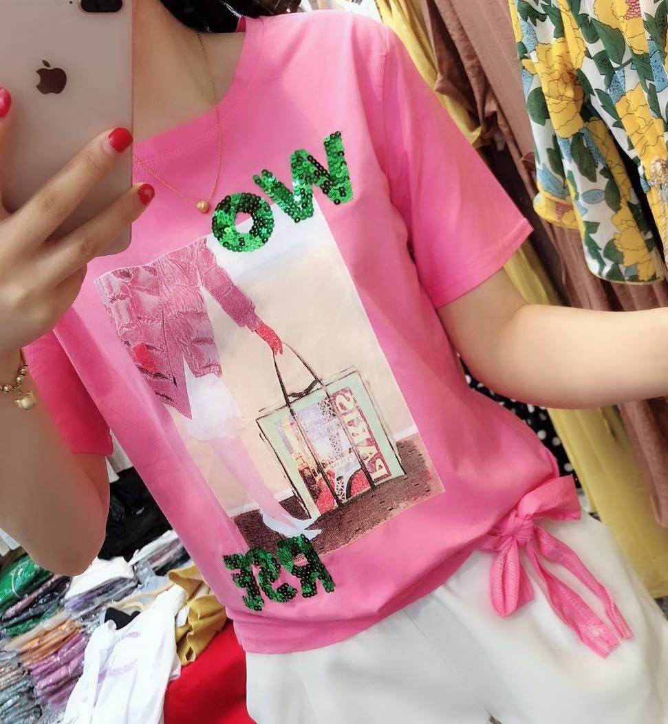 欧洲站2019夏季新款韩版字母亮片短袖t恤女宽松显瘦体恤系带上衣